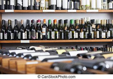 flessen, wijntje, getoonde, planken