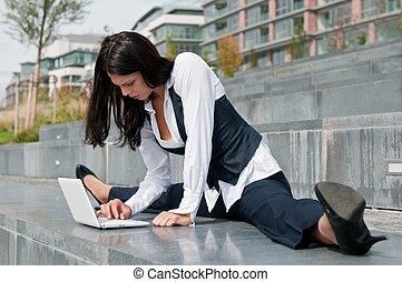 flessibile, laptop, donna, -, affari