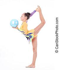 flessibile, ragazza, fondo, bello, bianco, sopra, ginnasta