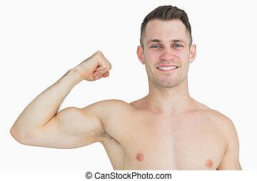 flessione, ritratto, shirtless, uomo, muscoli, giovane