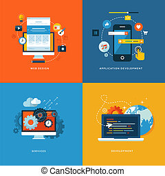 Flet icons for web development - Set of flat design concept...