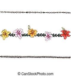 fleur, éléments, lilies., coloré, border., griffonnage, vecteur, conception, floral, ligne, illustration.