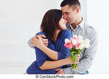 fleur, épouse, bouquet, printemps, couple, portrait, mari, heureux