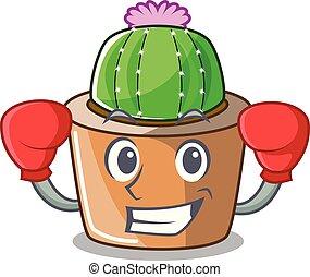 fleur, étoile, boxe, caractère, cactus, dessin animé