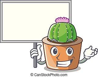 fleur, étoile, caractère, apporter, planche, cactus, dessin animé