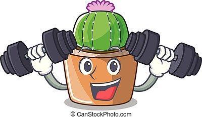 fleur, étoile, caractère, fitness, cactus, dessin animé
