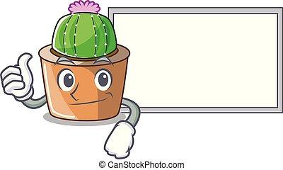 fleur, étoile, caractère, haut, planche, cactus, dessin animé, pouces