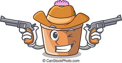 fleur, étoile, cow-boy, caractère, cactus, dessin animé