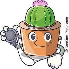 fleur, étoile, docteur, caractère, cactus, dessin animé