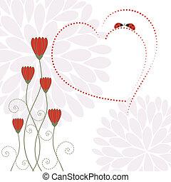 fleur, amour, printemps, carte
