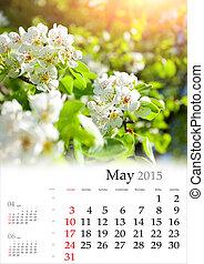 fleur apple, may., arbre, lumière soleil, calendar., 2015