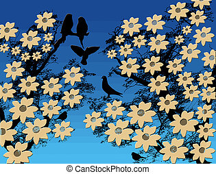 fleur, arbre, oiseaux