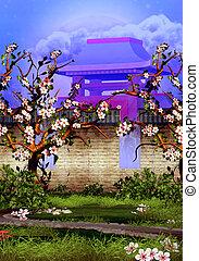 fleur, arbres cerise, mur, devant, brique