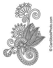 fleur, art, autotrace, ukrainien, orné, main, noir, ethnique...