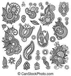 fleur, art, collection, noir, orné, conception, ligne