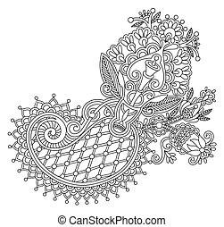 fleur, art, conception, orné, ligne, original