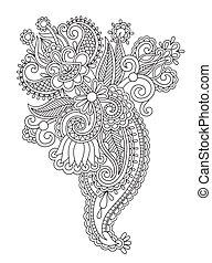 fleur, art, han, ukrainien, orné, noir, ethnique, ligne, ...