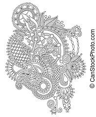 fleur, art, noir, orné, conception, ligne