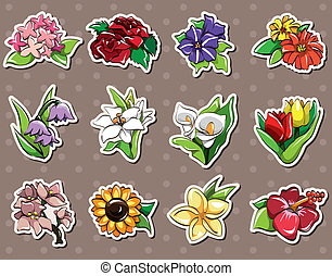 fleur, autocollants, dessin animé