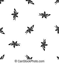 fleur, bâtons, modèle, vanille, seamless, noir