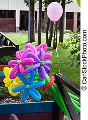 fleur, ballons, formulaire, formé
