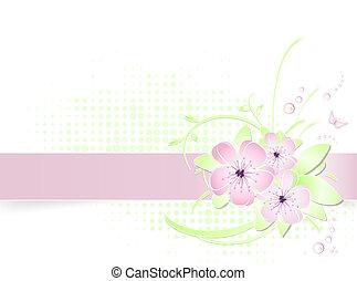 fleur, bannière, fond, lumière