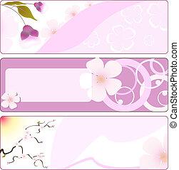 fleur, bannière, printemps, sakura.