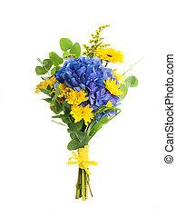 fleur bleue, bouquet, jaune, hydrangeas, asters, fond