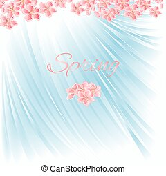 fleur bleue, cerise, vector.eps, fond, printemps