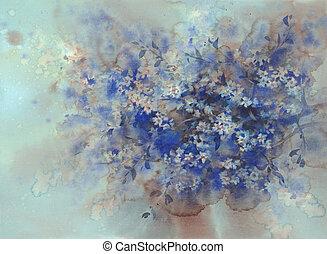fleur bleue, fleur, watercolor., sombre, sakura, fond, blanc
