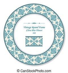 fleur bleue, vendange, cadre, oriental, retro, porcelaine, rond
