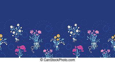 fleur, bouquets, modèle, seamless, fond, frais, horizontal