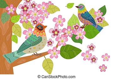 fleur, branche arbre, fantaisie, oiseaux