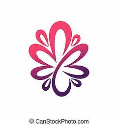 fleur, c, formé, lettre, logo