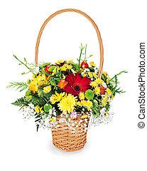 fleur, cadeau, coloré, bouquet, osier, isolé, arrangement, milieu de table, fond, panier, blanc