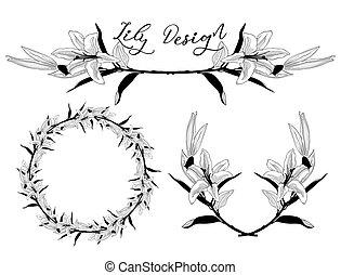 fleur, cadre, couronne, vecteur, diviseur, lis, design.
