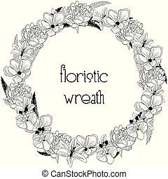 fleur, cadre, wreath., élément, conception, délicat, floristic
