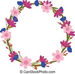 fleur, cadre, wreath., floral, vecteur, cartes, design.