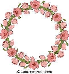 fleur, cadre, wreath., tulipe, vecteur, cartes, design.