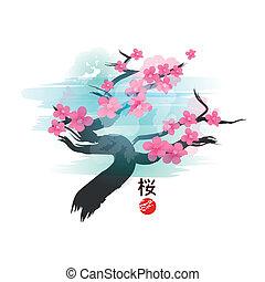 fleur, cerise, arbre., japonaise