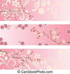 fleur cerise, bannière, ensemble