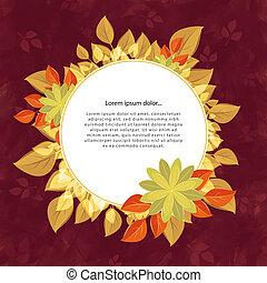 fleur, cerise, cadre, jaune, texte, rond