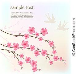 fleur, cerise, carte