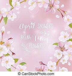 fleur, cerise, -, citation, vecteur, printemps, carte