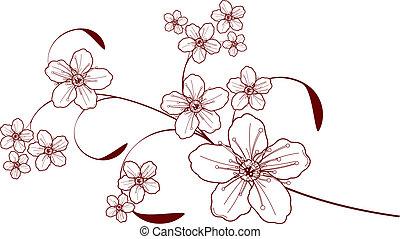fleur, cerise, conception