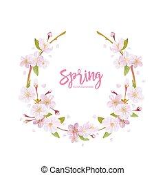 fleur, cerise, couronne, -, vecteur, fond, printemps, floral