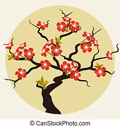 fleur, cerise, flowers., stylisé, carte