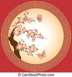 fleur, cerise, oriental