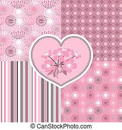 fleur, cerise, patterns., seamless, stylisé, 4, fleurs
