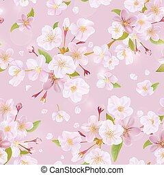 fleur, cerise, -, seamless, vecteur, fond, printemps, modèle